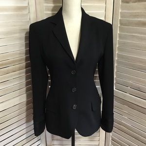 Prada Turned Cuff Virgin Wool Black Blazer 40 IT